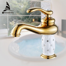 Basin Faucets Brass with Diamond Bathroom Faucet Gold Mixer Tap Single Handle Hot & Cold Washbasin Tap torneiras banheiro 7301K(China)