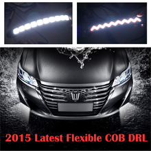 2pcs/lot 2015 Latest LED headlight flexible 10W 12V Daytime Running Light COB DRL Auto Car Driving Front Fog Lamp White Bulb