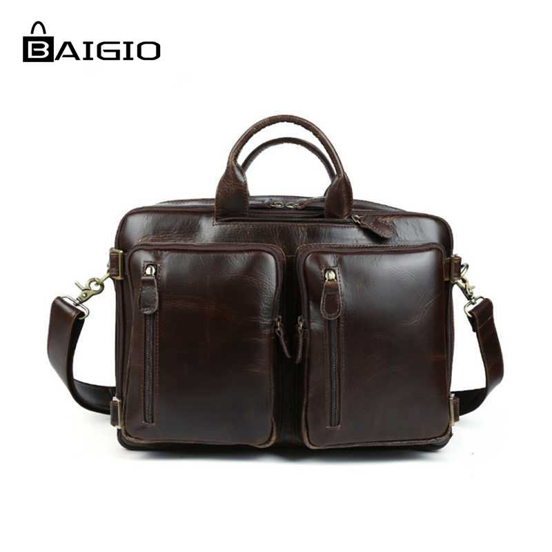 Baigio Men Travel Luggage Bags Overnight Business Duffle Bag Italian Leather Hand Luggage Multifunction Tote Shoulder Bags<br><br>Aliexpress