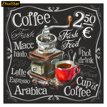 "5D Diy diamond painting cross stitch ""Coffee Price AD Board"" Full Square Diamond embroidery Needlework Rhinestone Mosaic Crafts(China)"