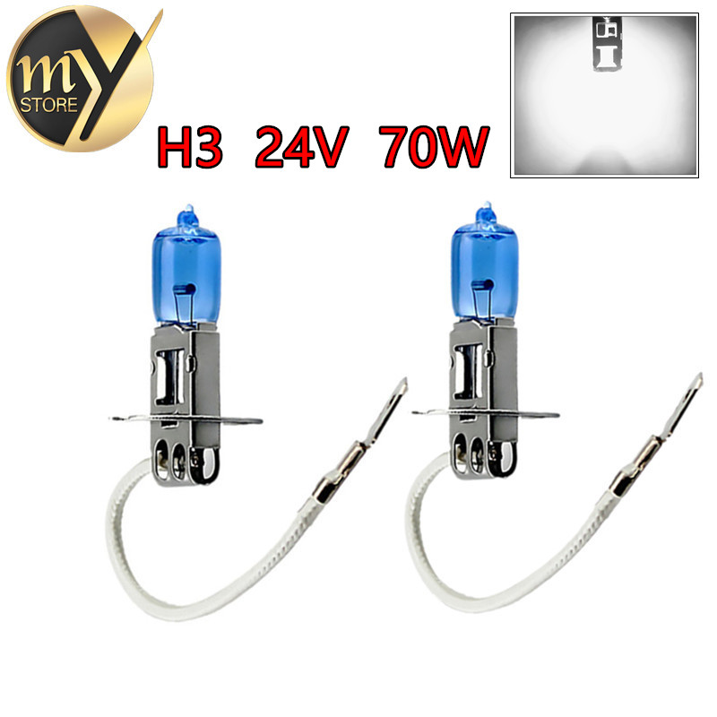 2pcs H3 Car Halogen Lamps 24V 70W Super White 6000K Xenon Dark Blue Bulbs Auto HeadLights Quartz Glass Car Light Source parking<br><br>Aliexpress
