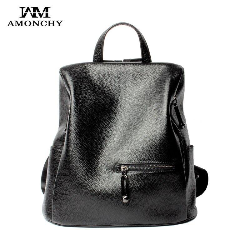 2017 New Genuine Leather Backpack Leisure Ladies Cowhide Backpacks Shoulder Bags Brand Stylish Girl Travel School Backpacks B12<br><br>Aliexpress