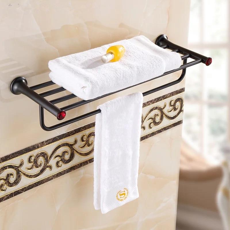 Whole black towel rack Antique bronze brushed black towel shelf bath towel rack bathroom holder Antique Double towel shelf<br>
