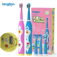 Buy Langtian Child Electric Toothbrush Dental Electric Cleaning Brush Kids Ultrasonic Rechargeable Toothbrush Baby Sonic Toothbrush for $16.19 in AliExpress store