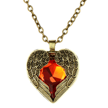 Love Vintage Red Hearts Angel Wings Shape Long Maxi Necklace For Women Pendant Necklace Fashion Jewelry Wholesale