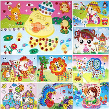 10pcs/lot Kids Crystal stickers  3D Art Crafts Puzzle Children's DIY Educational Toy