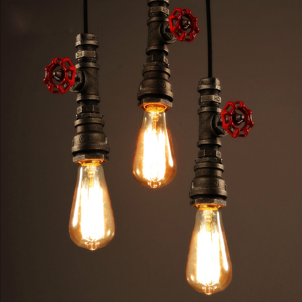 Rust Vintage Water Pipe Pendant Light Industrial Bulb Pendant Lamps Loft Retro DIY Bar Ceiling Lamps Fixture lighting lampshades<br>