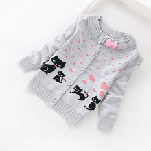 2016 new fashion children cardigans girls' lovely cotton sweaters 3-16 years fashion cotton cardigan 8518