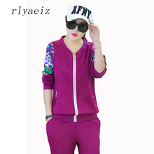 RLYAEIZ Fashion 2 Piece Set Women Spring Autumn Tracksuits Printed Sleeve Hoodies + Pants Casual Sporting Suits 2017 New Arrival