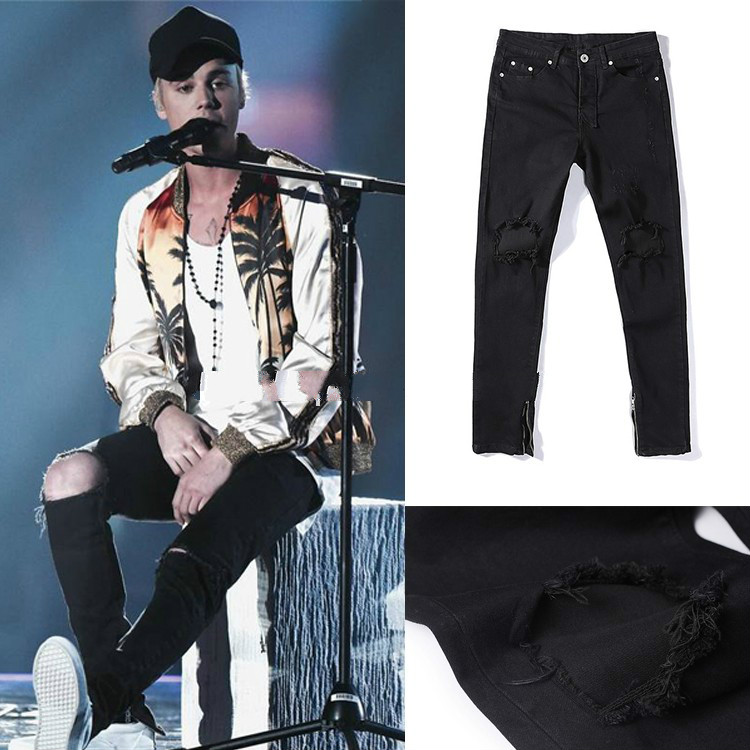 New Fashion High Street Justin Bieber Knee Hole Jeans KANYE West Zipper Feet Trousers Cultivate Men Silm Morality JeansОдежда и ак�е��уары<br><br><br>Aliexpress