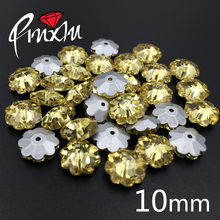 New style Jonquil 10mm Flower shape 360pcs/box Rhinestone Sew on stone Crystal Pointback one hole for Clothing Accessories(China)