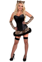 Deluxe Lavish Naughty Leopard Costume Halloween Fancy Dress Corset Skirt Gloves with Headband and Tail Kit(China)