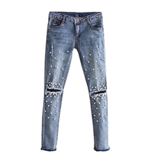 Knee hole Beading Pearl jeans women Stretch skinny denim pants casual Slim Fit Rivet jeans summer Long Trousers Mid Waist Cowboy