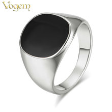 VOGEM Vintage Men Rings White Gold Color Cool Signet Ring for Men Onyx Pinky Ring with Black Stone Little Finger Jewelry Ring