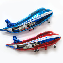 Large red & blue Jetliner Airbus foil balloons kids birthday party gifts holiday plane classic toys decoration supplies(China)