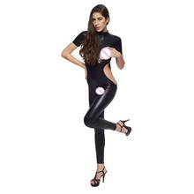 Buy Gothic Faux Leather Bodysuit Women Erotic Open Bust Crotchless Bandage Jumpsuit Sexy Short Sleeve Hollow Fetish Catsuit