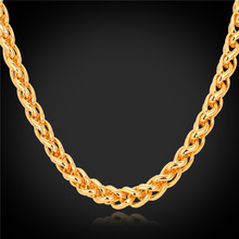 Chain Necklace For Men Jewelry 2016 New BlackRose Gold Gold Color 6MM 46CM55CM66CM Wheat Chains N751(China)