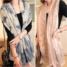 2016 150*35cm High quality Blue and White Porcelain Style Thin Section the Silk Floss Women Scarf Shawl