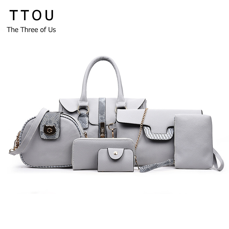 TTOU 6 Pieces Set Alligator Luxury Women Shoulder Bag  Panelled Serpentine Python Brand female Casual Tote Lady Handbag Bag  <br>