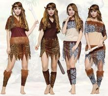2016 Halloween Cosplay The Primitive Costume Men Women of Indian Leopard Skins Indigenous African Dance Costumes Hunter Clothes(China)