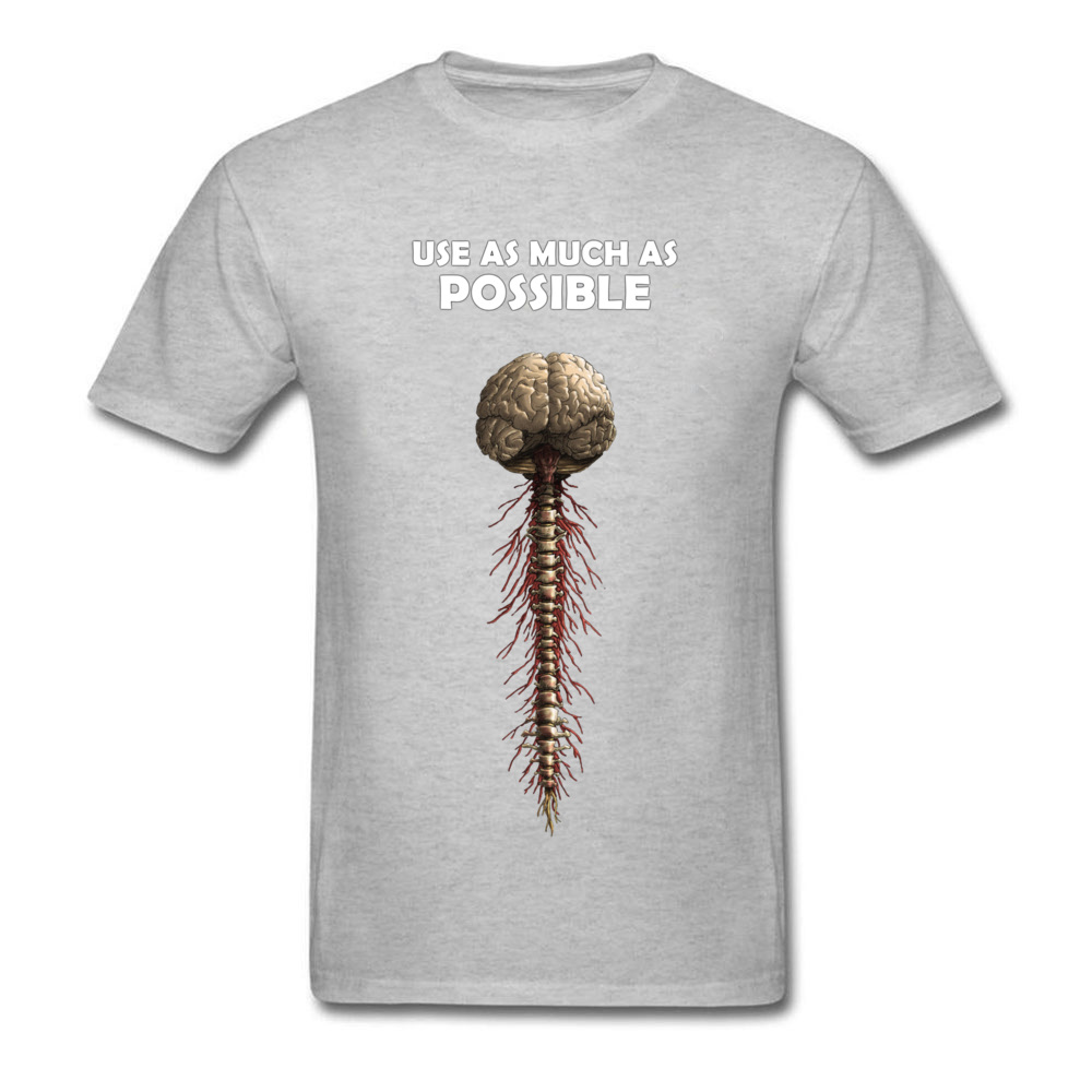 Birthday Brain Device T-Shirt Brand New Thanksgiving Day Short Sleeve Crew Neck T Shirt Pure Cotton Adult Casual Top T-shirts Brain Device grey