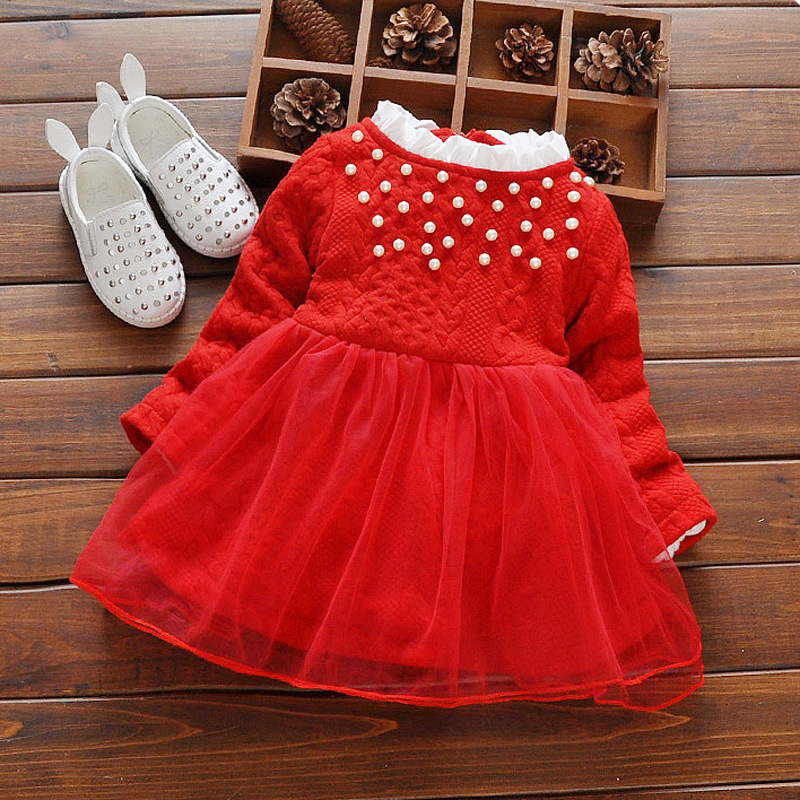 Toddler Dress 2017 New Autumn Winter 0-3T Red Cotton Long Sleeve Pearl Decor Lovely Thickening Korean Style Mesh Dress<br><br>Aliexpress