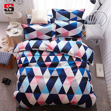 Sookie Home Textile 3pcs King Size Colorful Bedding Set Pretty Geometric Plaid Print Duvet Cover Sets Pillowcases Pillow Covers(China)