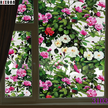 3D tint floral printing Self adhesive bathroom privacy decor static window film stickers cellophane 45x100cm Hsxuan brand 453103(China)