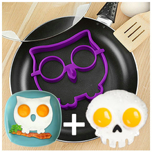 2PCS/ set Kitchen Cooking Tools Novelty Silicone egg Mold silicone owl egg and Silicone Skull egg Cooking cook fried egg set(China)