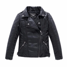Baby Boys Faux Leather Jacket Kids Girls And Coats Spring Kids Jackets Boys Casual Black Solid Children Outerwear 2018(China)