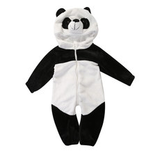 Baby Boy Girl panda Hooded Zipper Rompers Cute Baby Warm Costume Onesie Panda Climbing Pajamas Romper Coverall(China)