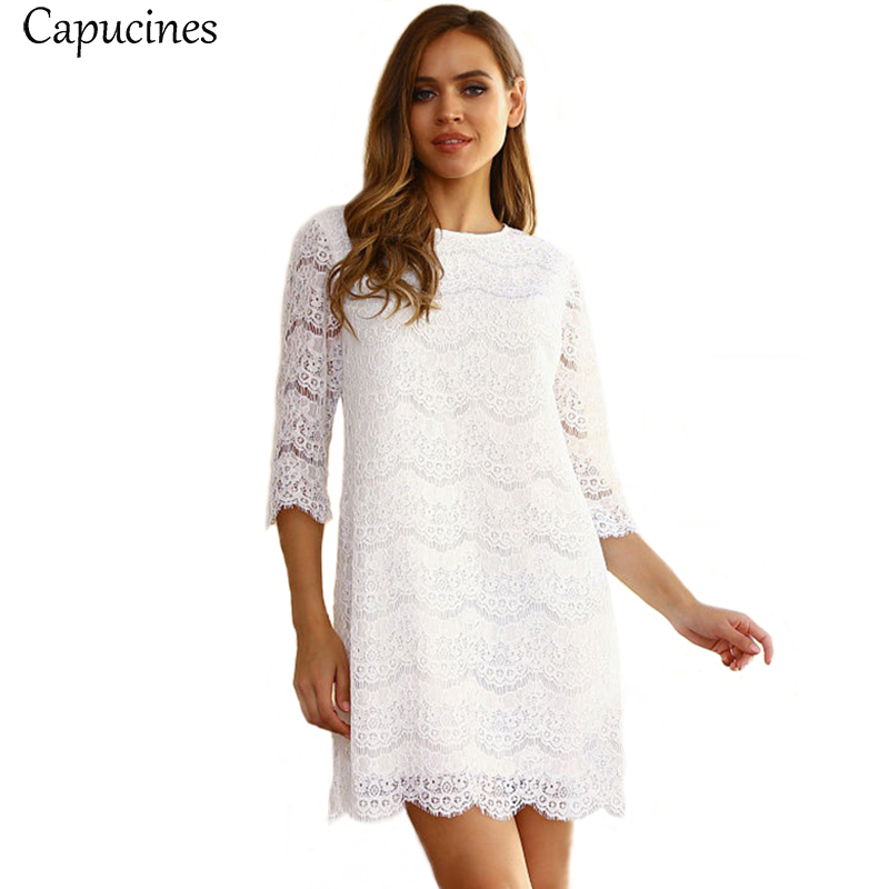O-Neck Lace Hollow Out 3//4 Sleeve Vestido Women/'s Party Club Dresses