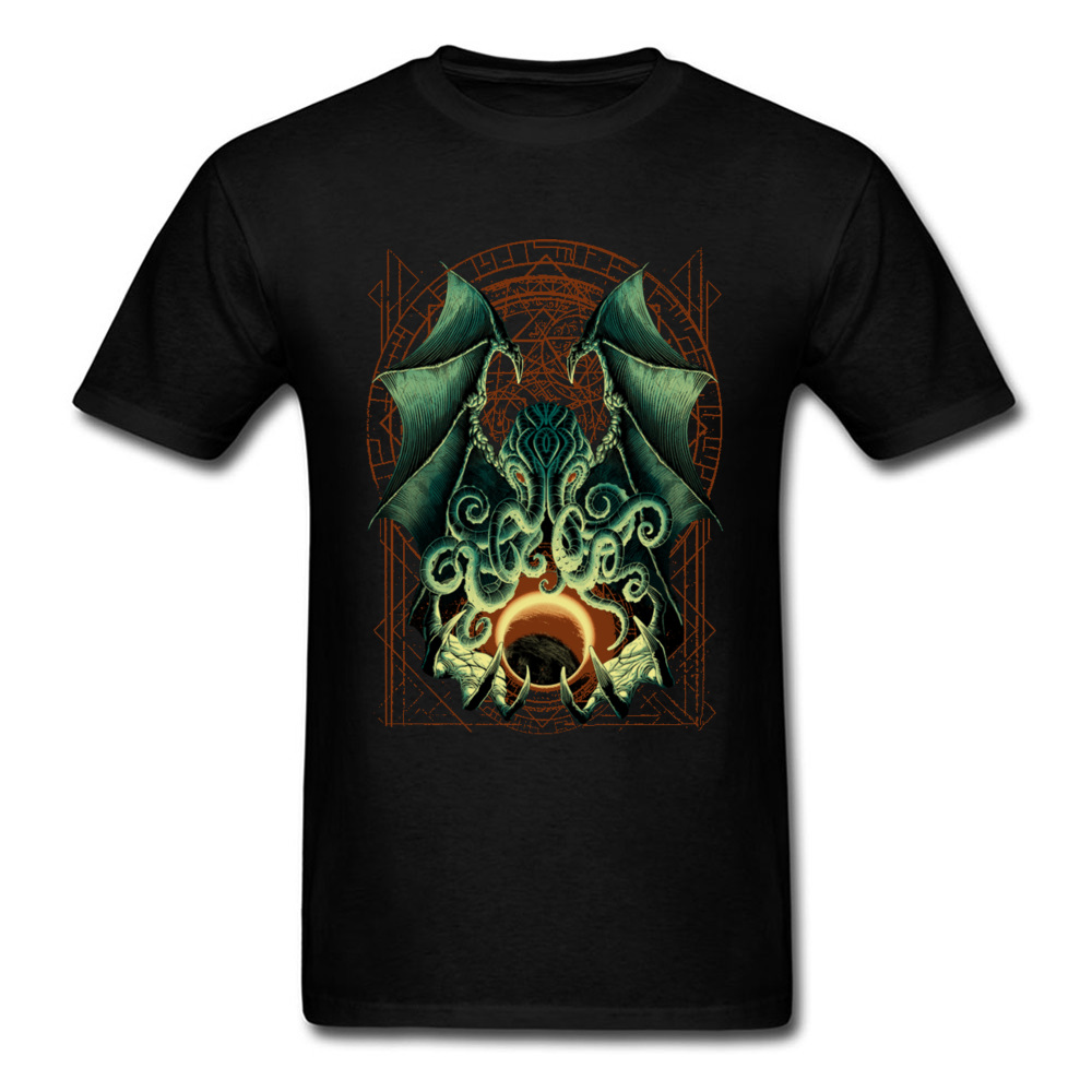 Printed CTHULHU-0601 Printed On Short Sleeve Labor Day Tees 2018 Hot Sale Round Neck Pure Cotton Sweatshirts Men T Shirts CTHULHU-0601 black