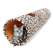 Hot Sale 1.25M Pet Product Cat Tunnel Leopard Print Crinkly Cat Fun 2 Holes Long Tunnel Kitten Toys Pet Playing Living Necessary(China)