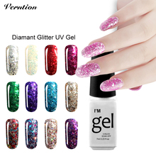 Verntion Soak Off Gel Lacquer Hot Sale vernis semi permanent 3d Diamond lucky Color Gold Glitter UV Led Nail Gel Polish