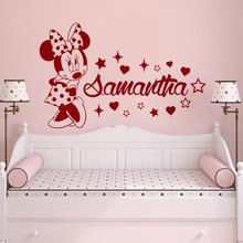 Custom Name Decals Cute Mouse Decor Personalized Girls Name Wall Stickers Baby Nursery Bedroom Decor Vinyl Decal Murals A506(China)