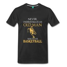 2017 New Arrival T Shirt Family T Shirts Short Never Underestimate An Old Man Basketballer Men Summer O-Neck Tee Shirt