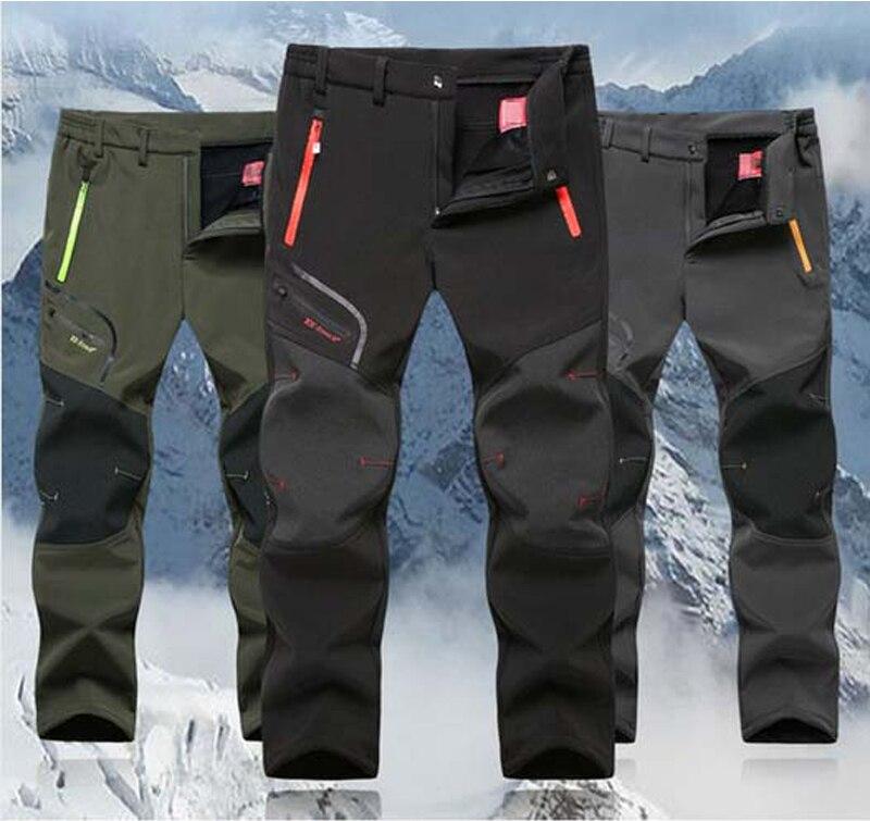 Man Winter Fishing Waterproof Camping Trekking Fleece Outdoor Hiking Pants Men Climbing skiing Softshell Trousers Travel 5XL P16<br><br>Aliexpress