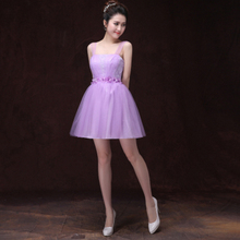 2017 fashionable beautiful lavender prom dresses for girls proms tulle wrap short spaghetti straps teen dress ball gown D4011