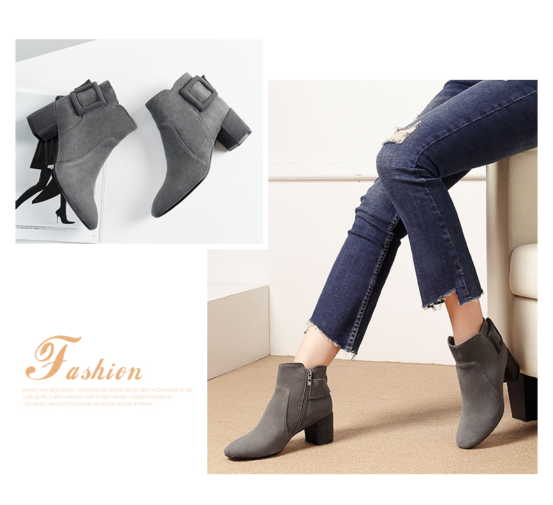 Universe warm kid suede ankle boots for women med chunky heel shoes fashion big buckle decoration lady boots G222