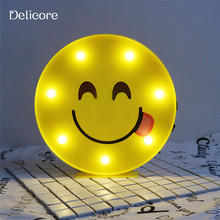 DELICORE Cute Emoji LED Light Emoji Delicious Yellow Plastic USB/Battery Operated Lamp Nursery Room Decor Children's Gift S183