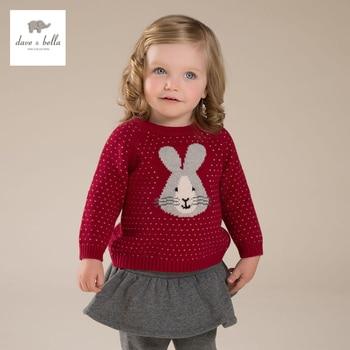 DB3976 dave bella outono bebê menina coelho vermelho jacquard de algodão suéter de lã