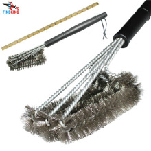 "18"" Rugged Grill Cleaning Brush BBQ tool Grill Brush 3 Stainless Steel Brushes In 1 Provides Effortless Cleanin BBQ Accessories"