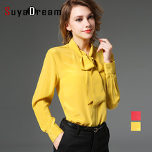 100%Natural Silk blouse Women Solid Bow collar Blouses Silk Chiffon Blusas femininas 2016 NEW Ginger Red