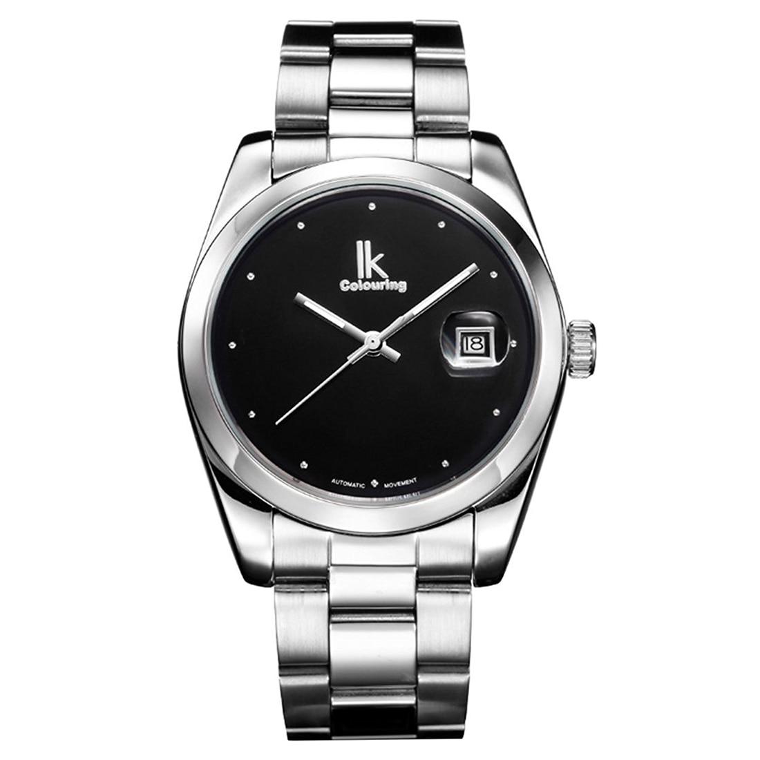 Ikcolouring Minimalist Designs Silver Black Mans Automatic Mechanical Wristwatch Date Luminous<br>
