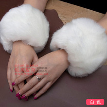 Winter thick faux Rabbit oversleeve sleeve fur rings hand fur decoration cute faux Rabbit fur warm oversleeves fur arm cuffs(China)