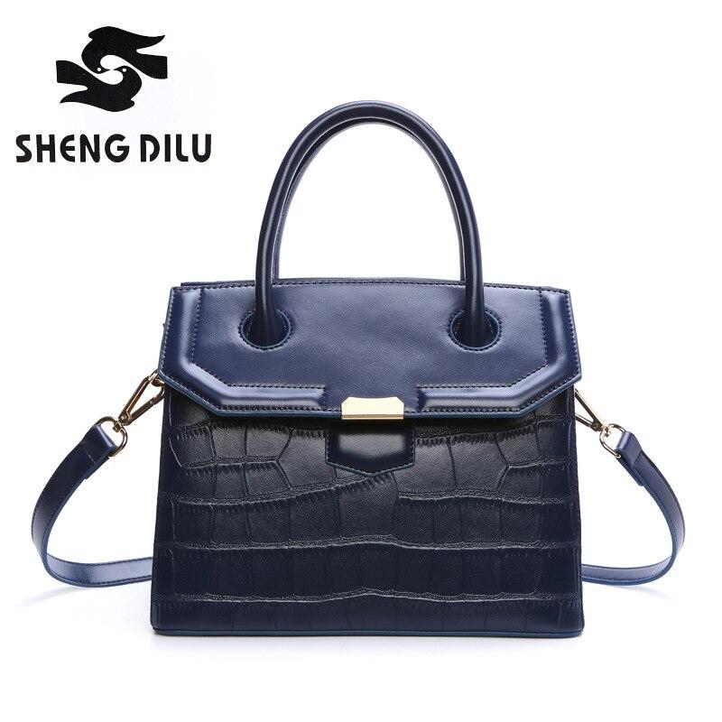 Fashion Stone handbag shengdilu brand 2017 new women genuine leather tote shoulder Messenger bag free Shipping<br>