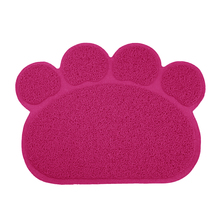 Lovely PVC Dog Paw Shape Cup Placemat Pet Puppy Cleaning Feeding Dish Bowl Table Mats Pad (rose red)(China)