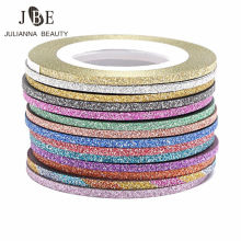 30 Rolls Gold/Silver Glitter Nail Art Striping Tape Line Sticker On Nails Art Decoration Multicolor Shining DIY Nail Tips 1mm/2m(China)