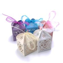 10pcs Heart Favour Box Laser Cut Wedding Sweets Favor Candy Gifts Boxes Box(China)